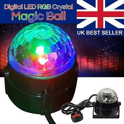 Disco DJ Stage Light Club Party Crystal Ball Effect RGB Rotating LED Lighting...