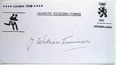 JEANETTE WITZIERS TIMMER 1948 OLYMPIC 4x100m GOLD MEDAL ORIGINAL INK AUTOGRAPH