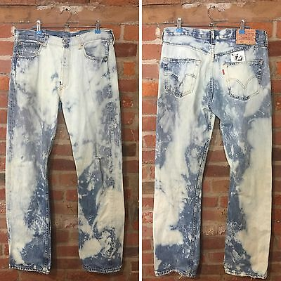 Vintage Bleached Blue Levi'S Jeans 501 (J43) Worn Ripped Knee Skinhead W33 L34