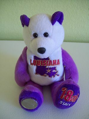 "Limited Treasures Coin Bear State of Louisiana 2002 8"" Plush with Quarter"