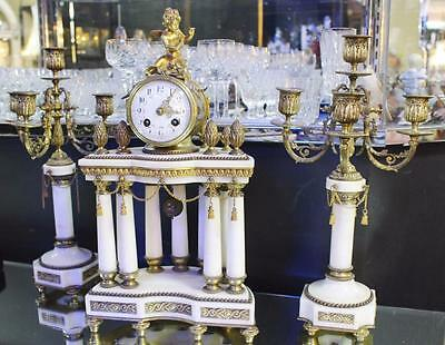 Antique French Marble Portico Garniture Clock Set