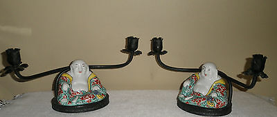 Pair French Porcelain Famille Rose Buddha Boudior Lamps Candlesticks