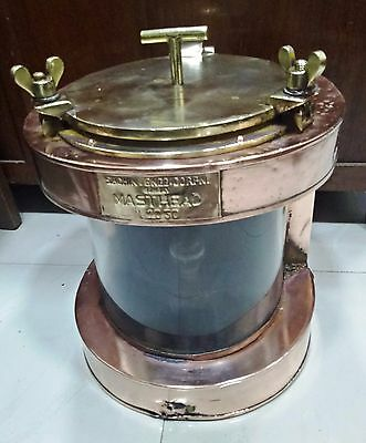 VINTAGE MARINE COPPER & BRASS Electric Lamp WHITE GLASS