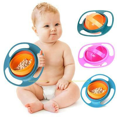 Spill-Proof Food Gyro Feeding Bowl Dish 360 degree Rotate lid Baby Kid Children