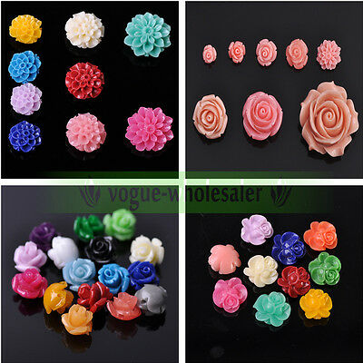 Mixed Color Synthetic Coral Resin Rose/Daisy Flower Loose Spacer Beads Wholesale