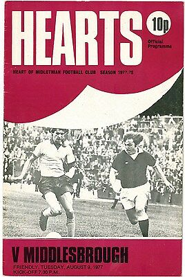 HEART OF MIDLOTHIAN Hearts v Middlesbrough Programme Friendly 1977