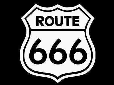 ROUTE 666 Highway to Hell Vinyl Decal Car Wall Truck Sticker CHOOSE SIZE COLOR