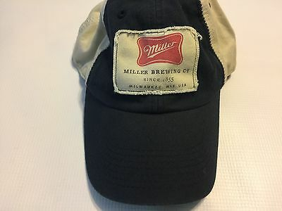 Miller Brewing Company Patch Adjustable Cap Hat Distressed Navy Cream One Size