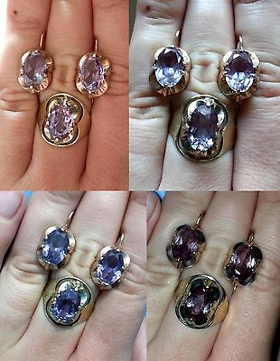 MAGIC ALEXANDRITE Vintage Last century Ring Earrings Silver 875 USSR Antique