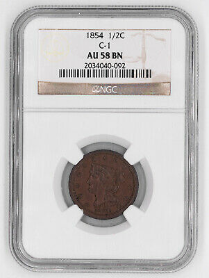 1854 Braided Hair Half Cent 1/2C C-1 Ngc Certified Au 58 Bn Brown (092)