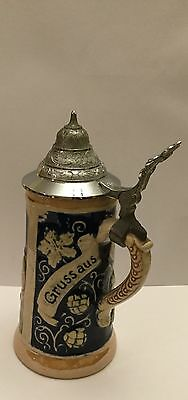 West German Hand Finished Pewter Lidded 5 1/2 inch Tankard