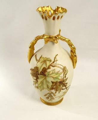 Leonard Vienna Austria Foliage with Gold Trim and Outline Vase 10 inches