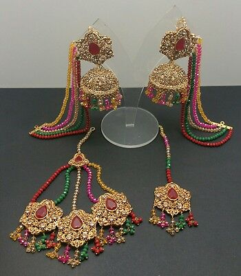 Jumkaa earrings and tikka set with jhumaar  (mendi function)