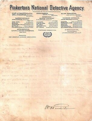 William A Pinkerton Autograph Typed Letter Pinkerton Detective Agency 1904