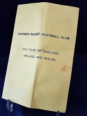 Scribes Rugby Football Club (Canada) Tour Programme 1973 England Ireland & Wales