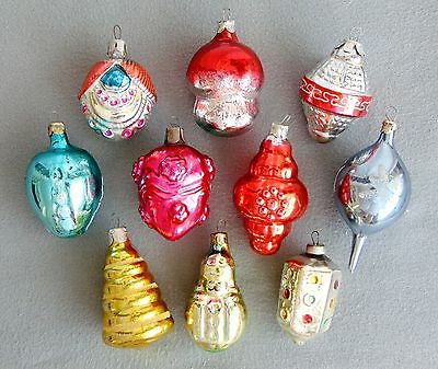10 Vintage Glass Christmas Tree Ornaments Large Baubles 1950s/1960s