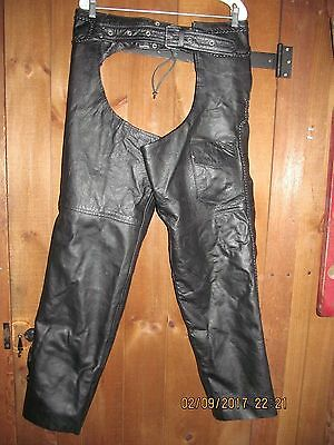 Motorcycle Chaps Black Cowhide Leather Braided Zip Out Sz Xl Euc