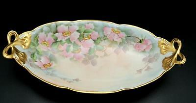 Hand Painted Pink Roses Heavy Gold Gilt Oval Serving Dish Signed J Kelley