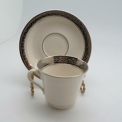 8 Sets Castleton Studio China Evening Reflections Cups and Saucers Platinum Trim