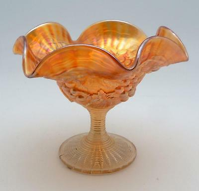 Vintage Imperial Marigold Carnival Glass Grape  Leaf Ribbed Iridescent Compote