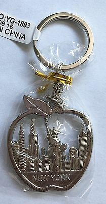 New York City Keychain Souvenir Silver-color Big Apple Liberty Manhattan Skyline