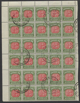 Australia SG #D132a - 1/2d Postage Due CTO/Used Top Sheet Block of 30