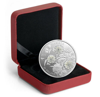 2017 Canada Pearl Flowers W/ Mother-of-Pearl 1 oz Silver $20 Proof OGP SKU46960
