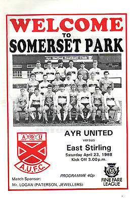 1987/88 Ayr United v East Stirling, Division 2, PERFECT CONDITION