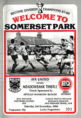 1988/89 Ayr United v Meadowbank Thistle, Division 1, PERFECT CONDITION