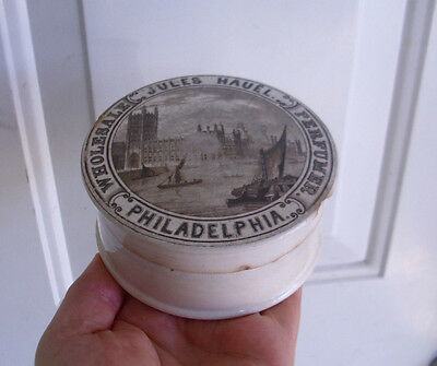 Civil War era,(c1860) RARE J Hauel, PHILADELPHIA  English Parliament jar pot lid