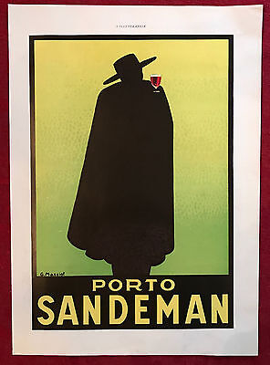 1937 Art Deco George Massiot Sandeman Port Wine Vintage French Poster Ad