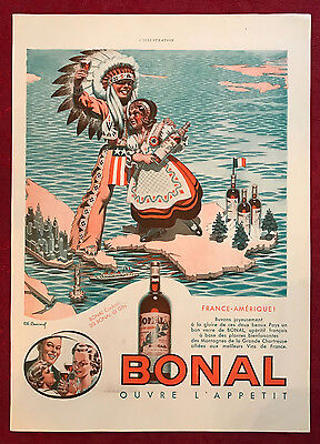 1939 Art Deco Bonal Lemmel Vintage French Magazine Ad With American Indian