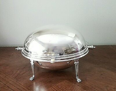 "Antique Silver Plated 11"" Rolling Dome Breakfast / Buffet Server /lion Feet"