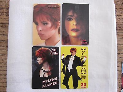 4 Cartes Telephonique Telecarte Phone Card Mylene Farmer