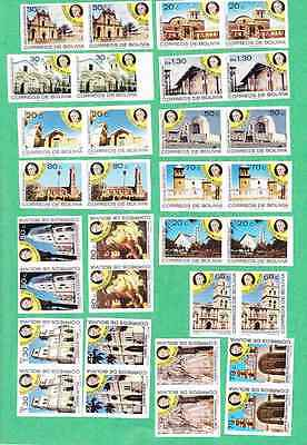 1988 Pope John Paul II Bolivia 16 Imperforated Pairs Complete set Sc#753/68b