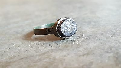Ancient Roman Bronze Seal RING (#48) Large Black Stone, Engraved, 20 mm Wearable