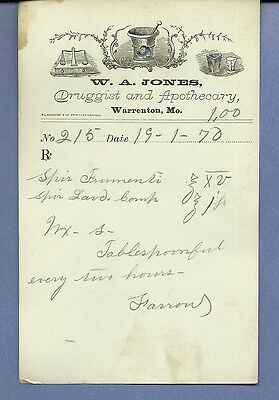 1870 WA Jones Druggist Apothecary Warrenton Missouri Prescription Receipt No 215