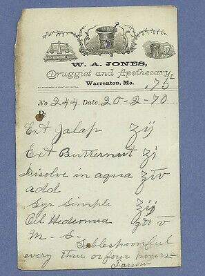 1870 WA Jones Druggist Apothecary Warrenton Missouri Prescription Receipt No 244