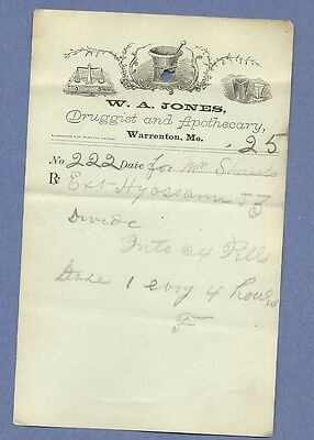 1870 WA Jones Druggist Apothecary Warrenton Missouri Prescription Receipt No 222