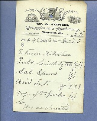 1870 WA Jones Druggist Apothecary Warrenton Missouri Prescription Receipt No 246