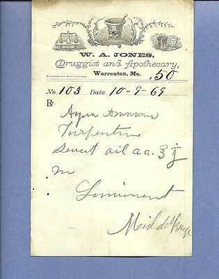 1869 WA Jones Druggist Apothecary Warrenton Missouri Prescription Receipt No 103