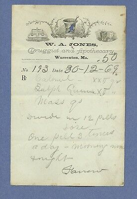 1869 WA Jones Druggist Apothecary Warrenton Missouri Prescription Receipt No 193