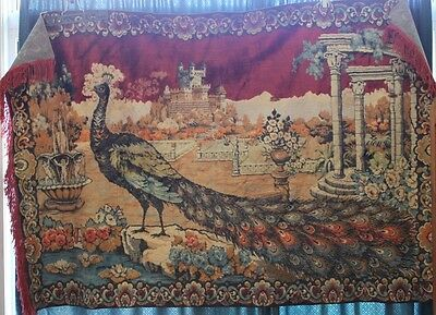Vintage Plush Velvet Peacock Wall Hanging Tapestry 62 x 47 Made in Italy