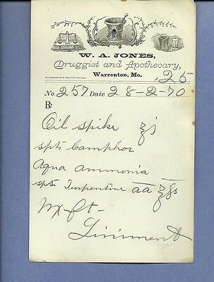 1870 WA Jones Druggist Apothecary Warrenton Missouri Prescription Receipt No 257