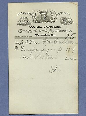 1870 WA Jones Druggist Apothecary Warrenton Missouri Prescription Receipt No 208