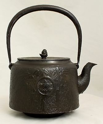 Japanese Dated Showa Cast Iron Tetsubin Tea Pot Teapot Kettle Bamboo