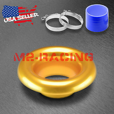 """3"""" Gold Short Ram Air Intake Turbo Horn Aluminum Velocity Stack Silicone Hose"""