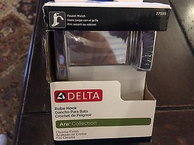 NEW in box Delta 77535 Ara Collection Chrome Robe Hook Bathroom