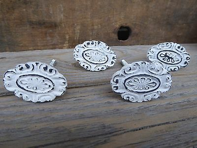 Metal Cast Iron  Distressed White Oval Floral Swirl Knob - Drawer Pull