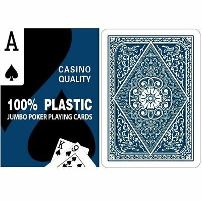 Twin Deck Set - 100% Plastic Blue & Red Poker Playing Cards - Free Postage